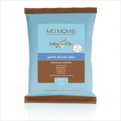 MD MOMS Baby Silk Gentle All-Over Clean Cleansing Towelettes Travel Pack 12 ea