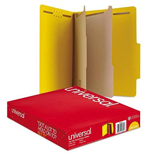 Universal Pressboard Classification Folders, Letter, Six-Section, Yellow, 10/Box (10304)