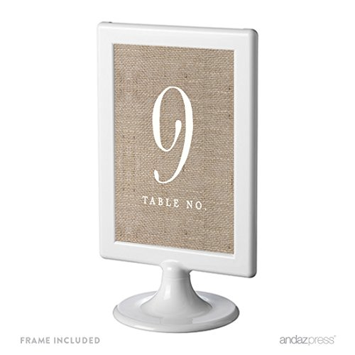 Andaz Press Framed Double-Sided Table Numbers 9-16, Burlap Print, 1-Set, 4x6-inch, Includes Frames (Burlap Number compare prices)