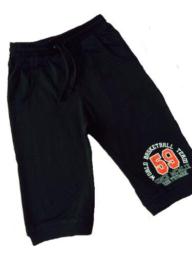 Be Board Jungen Hose Jogginghose Sweathose Shorts Sport Sommer (L, Schwarz)