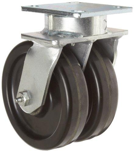 "Rwm Casters 54 Series Plate Caster, Swivel, Omega Urethane Wheel, Roller Bearing, 1600 Lbs Capacity, 8"" Wheel Dia, 3"" Wheel Width, 9-3/4"" Mount Height, 7-1/4"" Plate Length, 5-1/4"" Plate Width"
