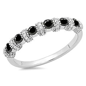 0.55 Carat (ctw) 14K White Gold Black And White Diamond Bridal Stackable Wedding Ring 1/2 CT (Size 4.5)