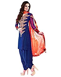 Surat Tex Navy Blue Color Party Wear Embroidered Georgette Un-Stitched Dress Material-H979DL1510