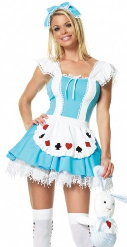Leg Avenue – 3 PC. Alice girl costume, includes headpiece, printed apron dress and printed stockings. – 83064