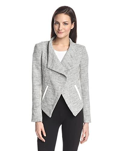 ADDISON Women's Abbie Drape-Front Jacket with Faux-Leather