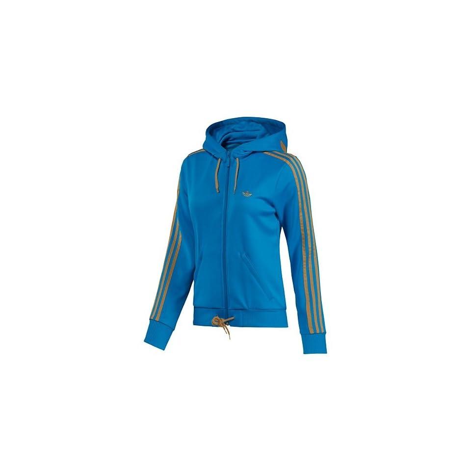 861ceeecb7191f Womens Adidas Originals Hooded Flock Track Top Medium Sharp Blue O58559