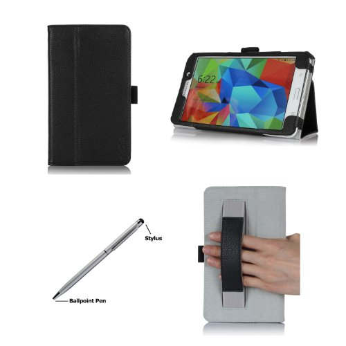 ProCase Folio Case with Stand for Samsung Galaxy Tab 4 7.0 Tablet 2014 ( 7 inch Tab 4, SM-T230 / T231 / T235), with Hand Strap, bonus stylus pen included (Black)