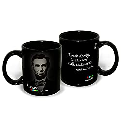 Hot Muggs Abraham Lincoln Quote on Walking Slowly but Surely Inspirational Mug, 350ml