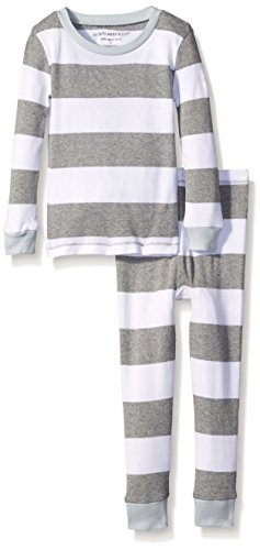 Burt's Bees Toddler Boys Rugby Stripe Pajama Set, Sky, 2T