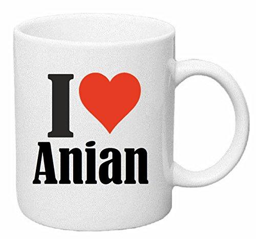 """Tazza """"I Love Anian"""" in ceramica Altezza 9,5 cm? 8 cm colore bianco"""