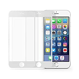 multifun Tempered Glass Screen Protector for Apple iPhone 6s/iPhone 6 4.7 inch 0.2mm Ultra Thin Color Frame 2-Pack White