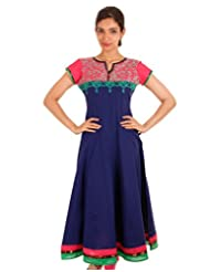 ESTYLe Dazzling Blue Anarkali Kurta With Embroidered Yoke