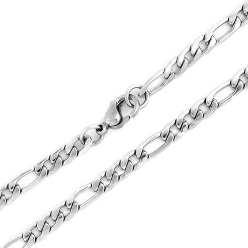 Bling Jewelry Mens 4,5 millimetri Figaro catena in acciaio Collana in acciaio 30in