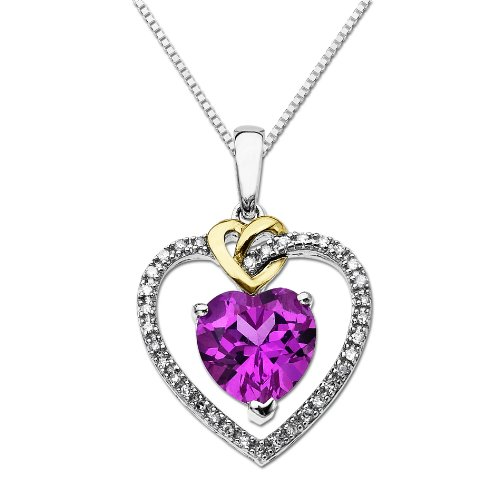 XPY Sterling Silver and 14k Yellow Gold Diamond and Heart-Shaped Created Pink Sapphire Pendant Necklace (0.01cttw, I-J Color, I3 Clarity), 18