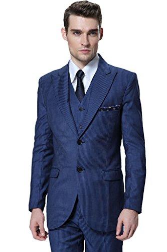 Hanayome メンズ 3ピーススーツ ストライプ V-ネック 宴会 礼服 礼装 紳士服 ビジネススーツ オーダーメイド D317 (Blue,AB-4)