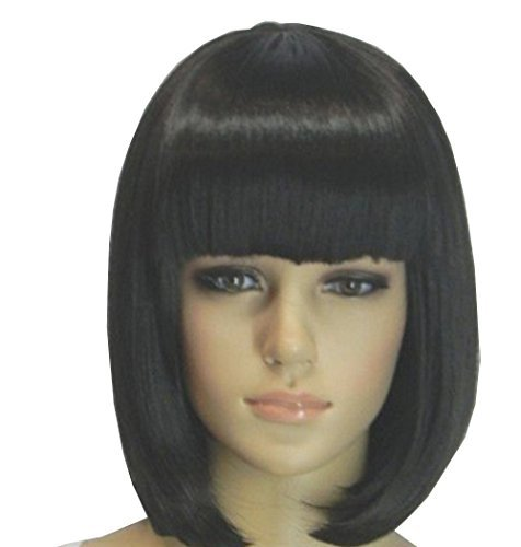 [Short BOB Straight Wig Party Wig like Real Human Hair Full Wig(Black)] (Black Bob Wig With Bangs)