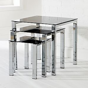Odyssey Nest Of Tables Black Glass Kitchen Home