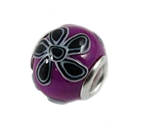 Carat Cache Purple and Black Flower European Bead