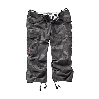 Surplus Homme shorts ENGINEER VINTAGE 3/4 , Size S, Color black camo