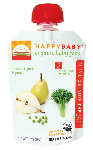 Happy Baby Organic Baby Food 2 Simple Combos Broccoli Peas and Pear 3 5 Ounce Pouches Pack of 16