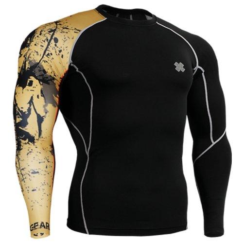 Fixgear Mens Womens Skin Tight Beige Printed Base Layer Running Tee Shirts Black