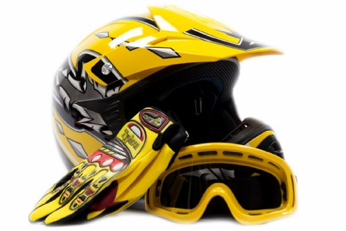 Youth Motocross ATV Helmet Dirt Bike MX , Gloves and Goggles Yellow, X-Large