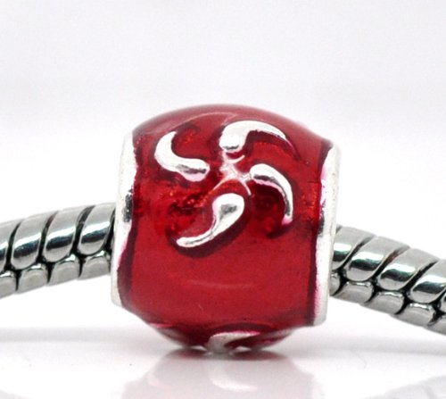 Silver Plated Red Enamel Spacer Charm Bead by