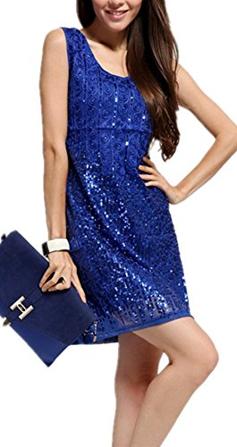 Blue Sequin Glitter Bodycon Stretchy Mini Dress for Women SiYuan Free Size