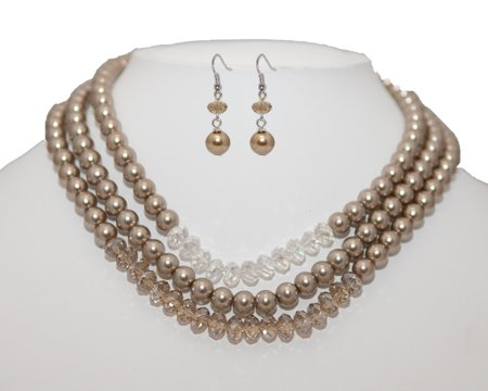 Multi Strand Taupe Pearl and Crystal Bead Necklace & Earring Set - Light Brown Bridesmaid Jewelry