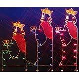 "66"" Three Wisemen Nativity Silhouette Lighted Wire Frame Christmas Yard Art"
