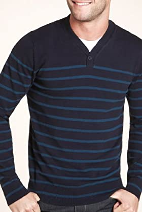 Autograph Cotton Rich Y-Neck Stripe Jumper [T30-0131A-S]