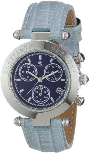 Constantin Durmont Visage - Reloj cronógrafo de mujer de cuarzo con correa de piel azul (cronómetro) - sumergible a 30 metros