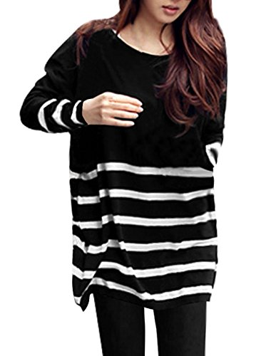 Allegra K Ladies Stripes Round Neck Spring Tunic Knit Shirt Black White L