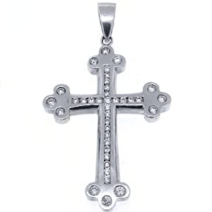14k White Gold Round Diamond Cross Pendant 2.80 Carats