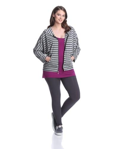 Pink Lotus Women's Stripe Zip Hoodie  [Black Heather]
