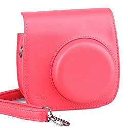 CAIUL Vintage Instax Carry Camera Case Bag With Shoulder Strap for Fuji Instax Mini 8 Red Fujifilm Instax Mini 8 Camera Raspberry, PU Leather, Red