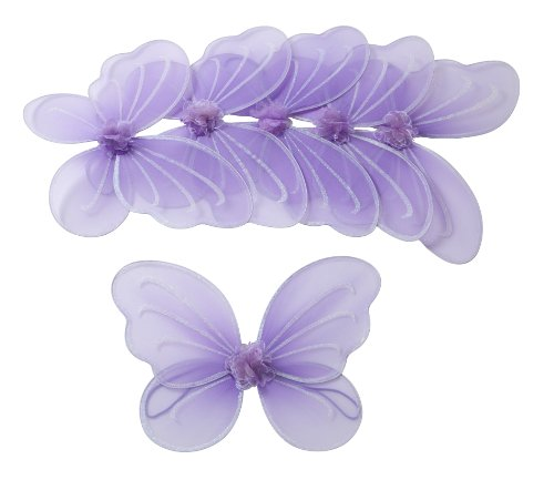 6 Purple Fairy Butterfly Wings Party Favor Packages for Girls Toddlers and Kids
