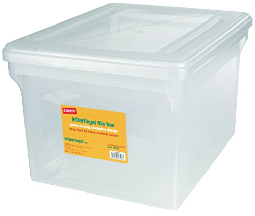 Staples? Letter/Legal File Box, Clear (File Folder Storage Box compare prices)