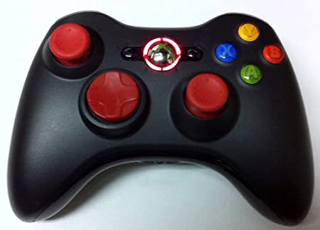 17 Mode Drop Shot, Quick Scope, Auto Aim, Dual Rapid Fire, Reprogrammable Xbox 360 Modded Rapid Fire Controller Mw3 Black Ops Mw 2 with Red Dpad, Sticks and Led