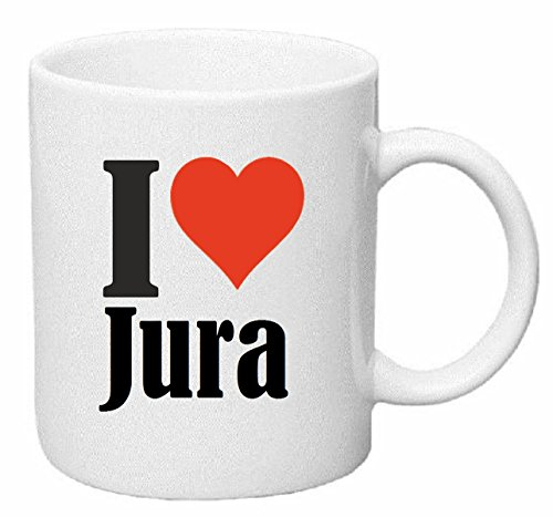 "Kaffeetasse ""I Love Jura"" Keramik Höhe 9,5cm ? 8cm in Weiß"
