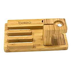 Cell Phone Docking Station, Boieo Bamboo Wood Charging Stand for Samsung, Apple, Huawei, Sony, Nokia and Other Phones Tablets & Dock Holder for Apple Watch (All-in-1 Bamboo)