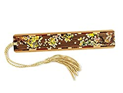 Tree Branch with Leaves in Color Wooden Bookmark with Tassel