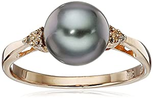 Rose Gold with Diamond Over Silver 8-9mm Round Black Tahitian Cultured Pearl Ring, Size7