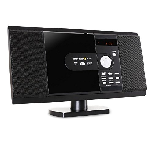 Auna-MCD-82-Design-Stereoanlage-Kompaktanlage-mit-DVD-Player-MP3-USBSD-Anschluss-UKW-RadioWandmontage-mglich-schwarz