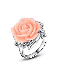 buy Celebrity Jewelry Carved Rose Flower Shape Pink Charms Fashion Crystal Ring For Women Size 7