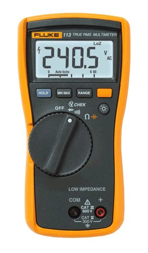 Fluke 113 True-Rms Utility Multimeter With Display Backlight, 9V Alkaline Battery, 600V Voltage