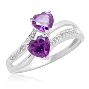 White Gold Double Heart-Shaped Amethyst with Diamonds Heart Ring