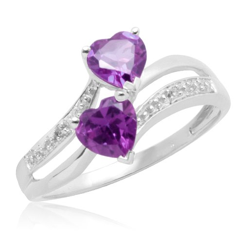 Double Heart-Shaped Amethyst with 10k White Gold Diamonds Heart Ring