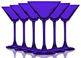 Purple Colored Martini/Cocktail Glasses Fully Colored - 10 oz. Set of 6- Additional Vibrant Colors Available by TableTop King