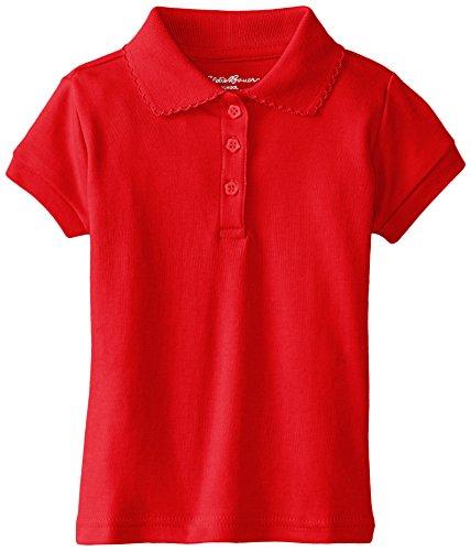 Eddie Bauer Little Girls' Short Sleeve Interlock Polo, Red, 6